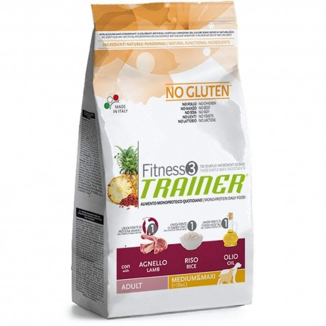 fitness 3 adult medium & maxi agnello no gluten
